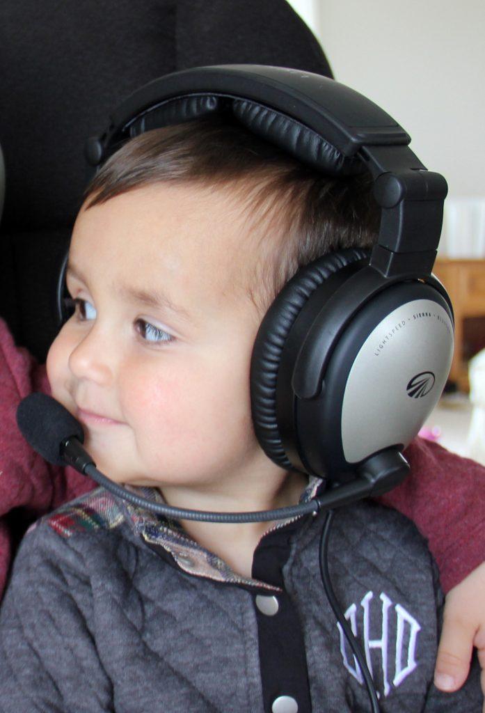 the family airplane baby wearing lightspeed sierra aviation headset